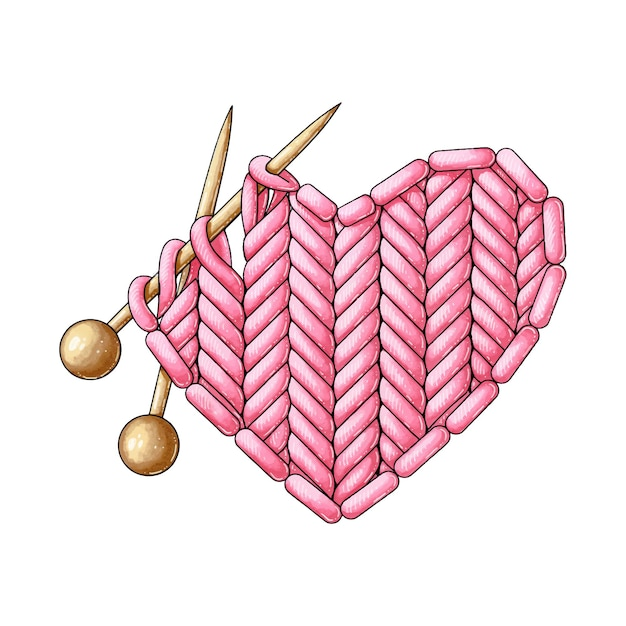 A knitted red heart and two knitting needles Premium Vector
