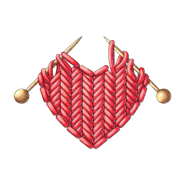 Knitted red heart with knitting needles Premium Vector