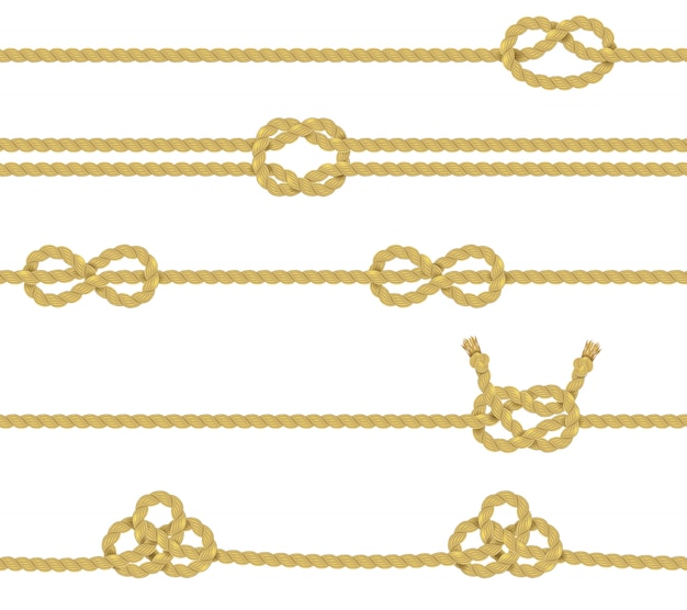 Knitted rope border set Free Vector