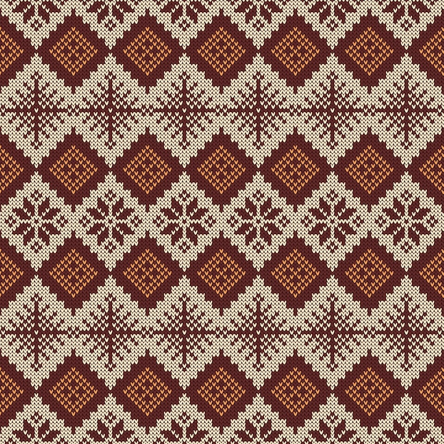 Knitted scandinavian pattern with snowflakes. Vector ...