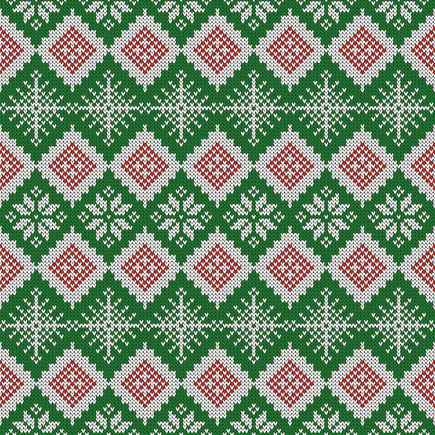 Knitted scandinavian pattern with snowflakes Vector ...