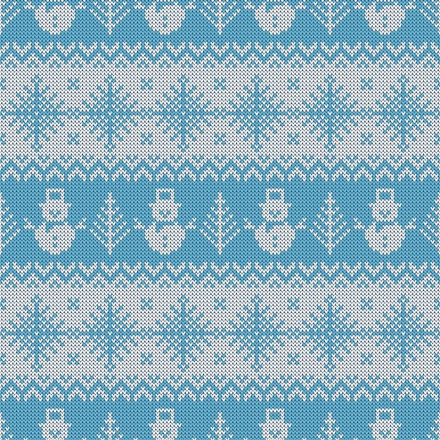 Knitted seamless pattern with snowmen and snowflakes. Premium Vector