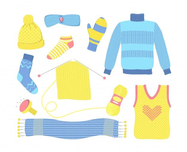 Вязаный сезонный шерстяной комплект одежды Бесплатные векторы