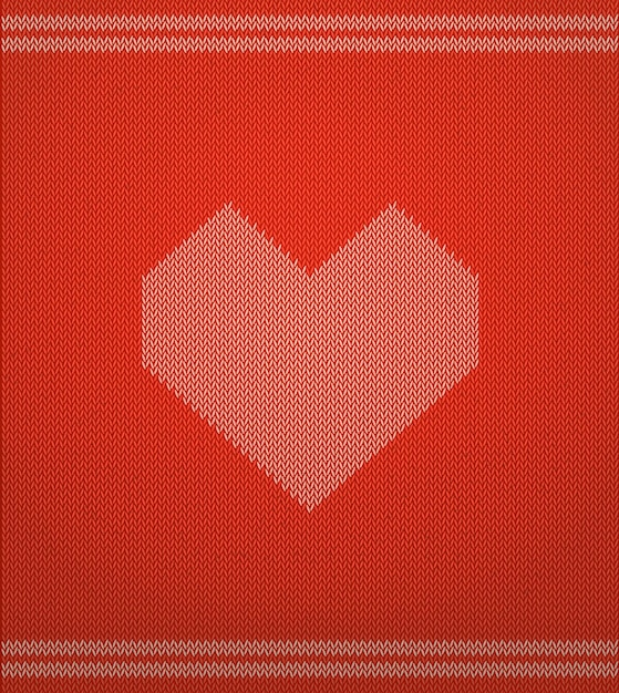 Knitted vector pattern with red heart. Premium Vector