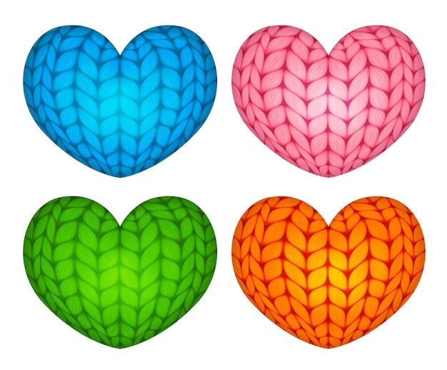 Knitted vector stuffed hearts blue pink green orange Premium Vector