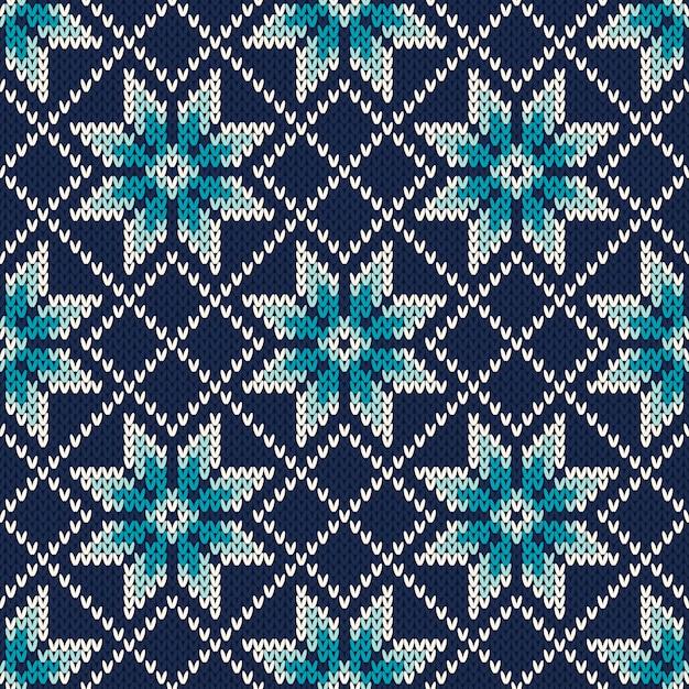 Вязаный винтажный дизайн свитера. fair isle бесшовные шаблон Premium векторы