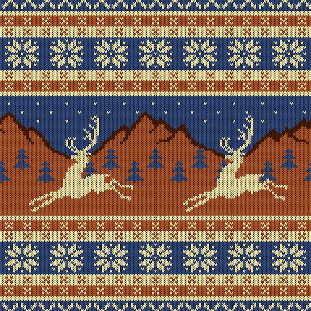 Knitted wool tapestry with deers Premium Vector