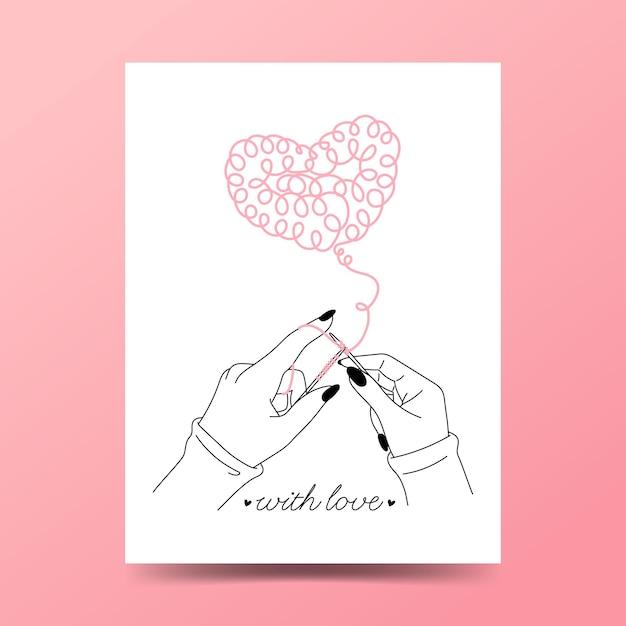 Вязание как символ любви. Premium векторы