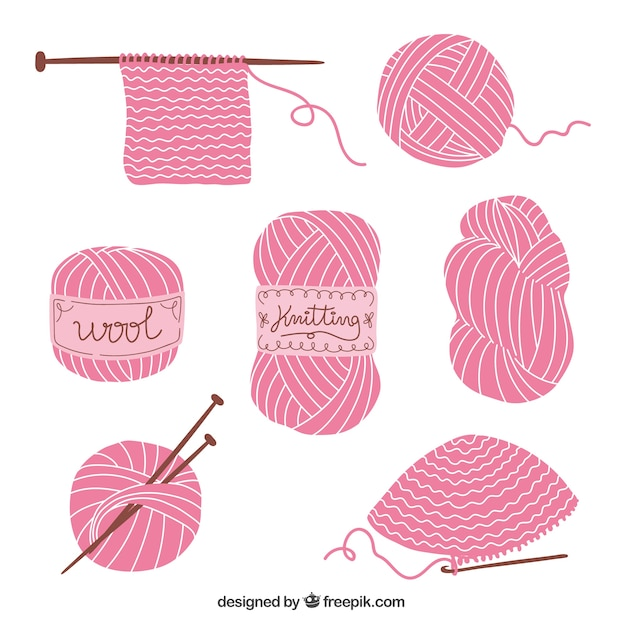 Knitting elements Free Vector