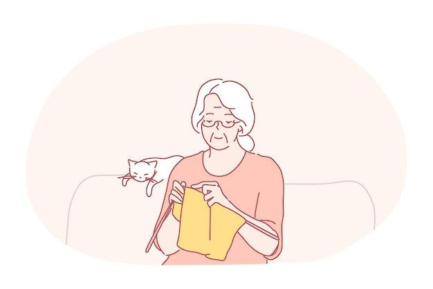 Knitting, hobbies of elderly people concept. Premium Vector