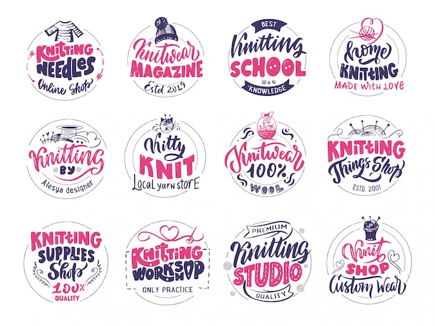 Knitting logo set Premium Vector