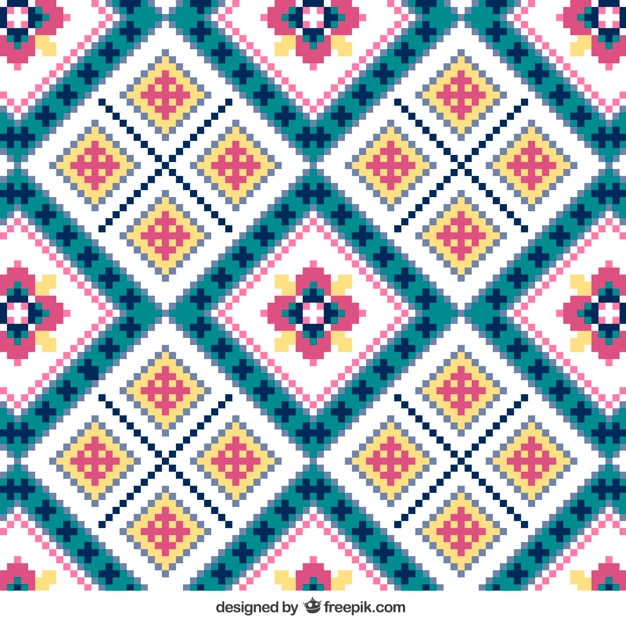 Knitting Pattern With Flowers Vector Free Download