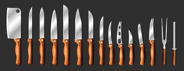 ナイフ肉屋肉セットキッチンドローナイフまたは包丁でシェフカットと黒い背景に分離された鋭いナイフ図 Premiumベクター