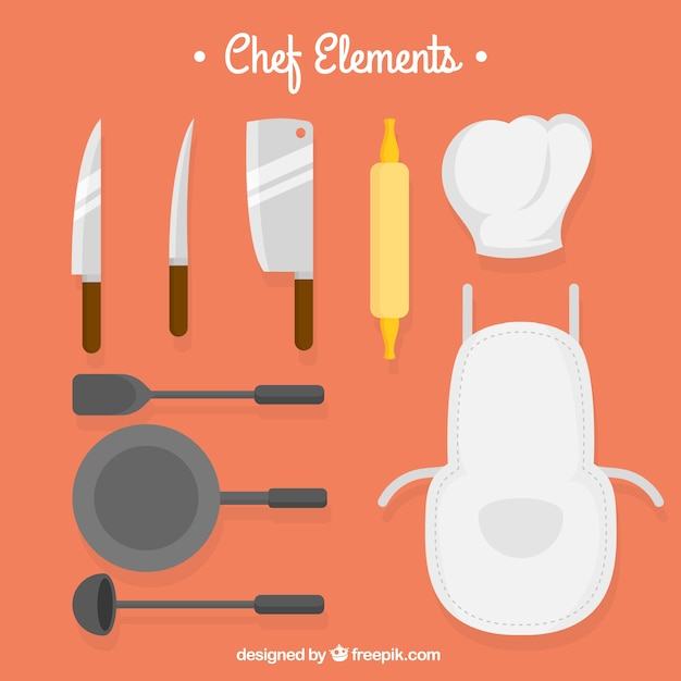 Knives and other kitchen elements in flat design Free Vector
