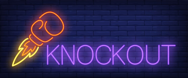 Knockout neon text with boxing glove rocket Free Vector