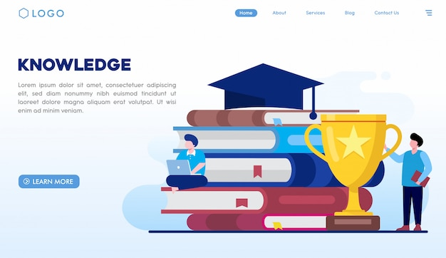 Knowledge landing page template Premium Vector