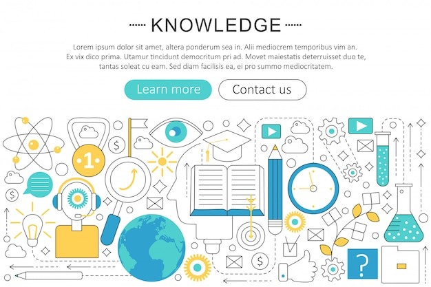 Knowledge searching flat line concept Premium Vector