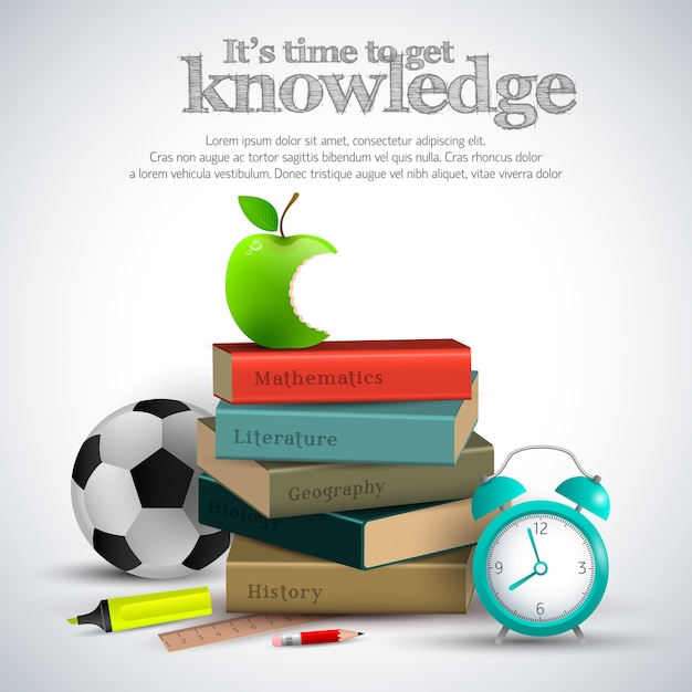 Knowledge stuff poster Free Vector