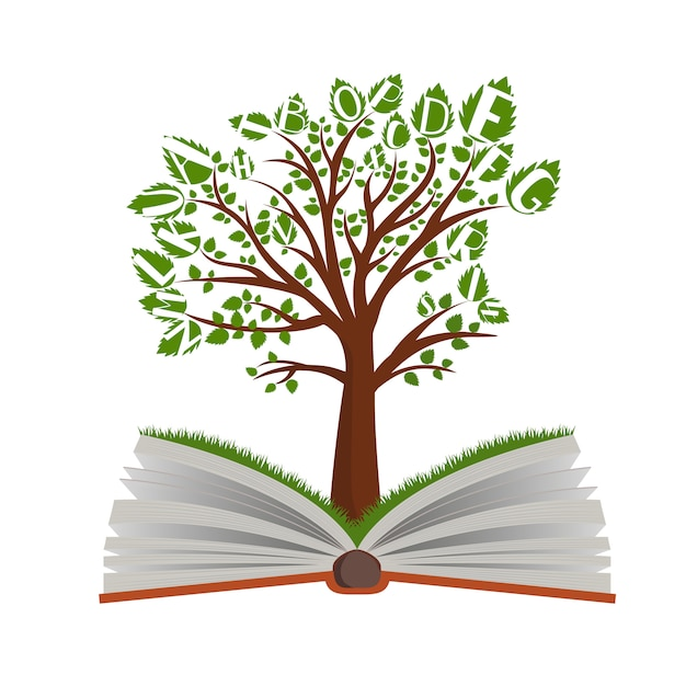 Knowledge tree from open book on white background Premium Vector
