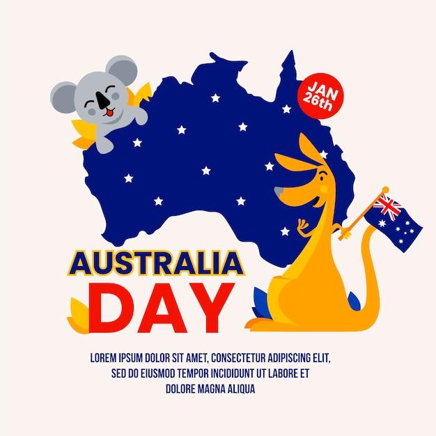 Коала и кенгуру и карта звездной ночи австралии Бесплатные векторы