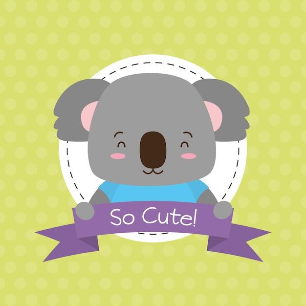 Koala cute animal, cartoon and flat style, illustration Free Vector