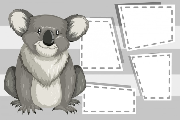 Koala on note template Free Vector