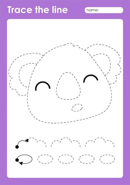Premium Vector Koala - Tracing Lines Preschool Worksheet For Kids For  Practicing Fine Motor Skills
