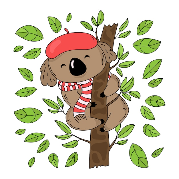 Koala tree australian forest bear Premium Vector
