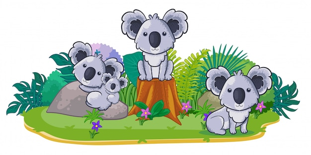 Koalas are playing together in the garden Premium Vector