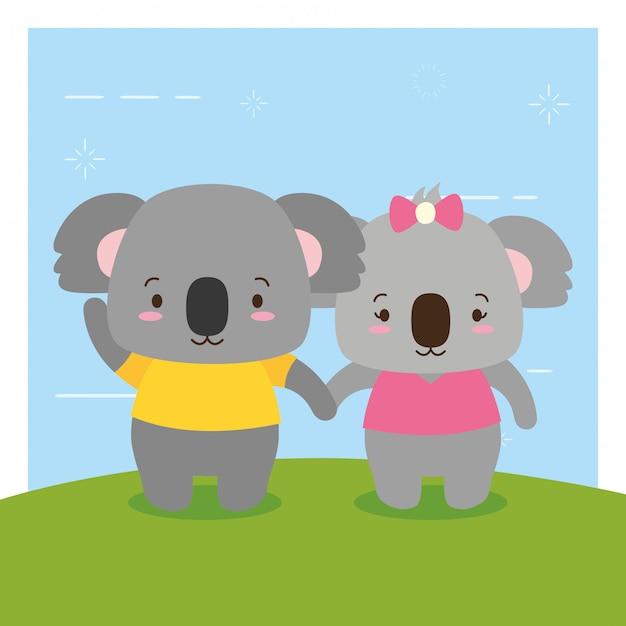 Koalas couple, cute animals, flat and cartoon style, illustration Free Vector