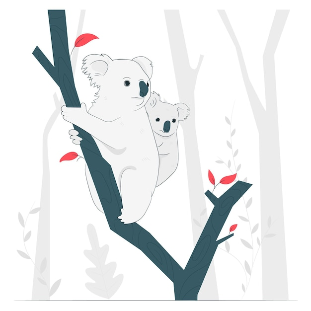 Koalas in trees concept illustration Free Vector