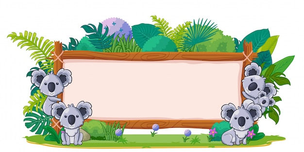 Koalas with a blank sign wood Premium Vector