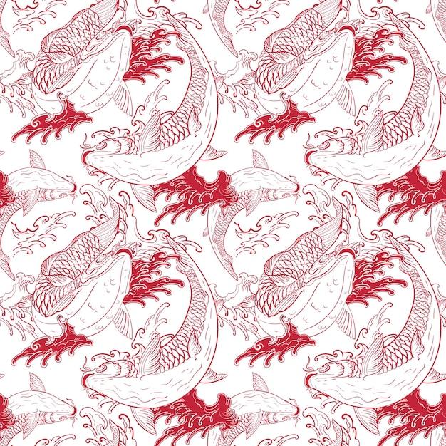 잉어 잉어 일본 흰색 빨간색 원활한 패턴 프리미엄 벡터