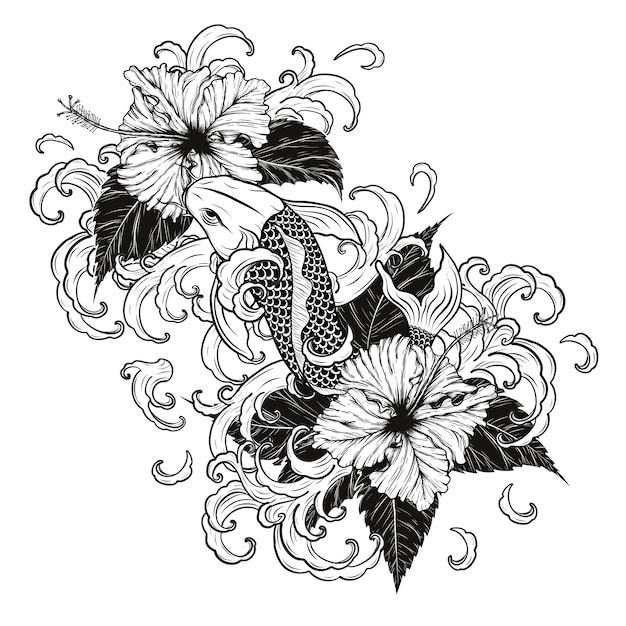 Рыбы koi и татуировка hibiscus вручную. Premium векторы