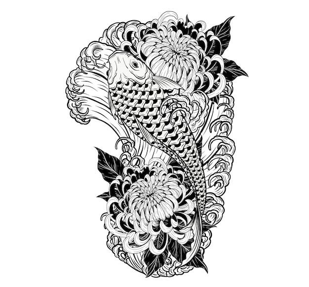 6e4444449 Koi fish and chrysanthemum tattoo by hand drawing. Vector | Premium ...