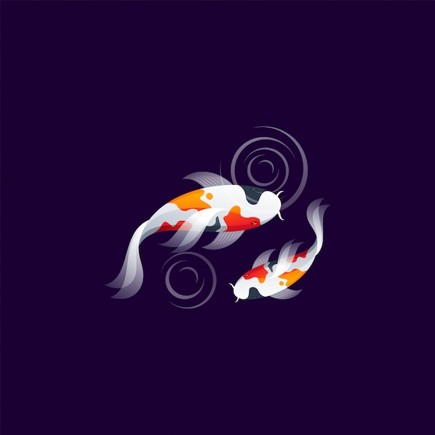 Koi fish logo design vector ilustration Premium Vector