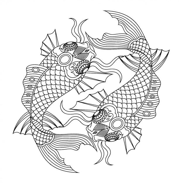 Koi fish mandala zentangle линейный стиль Premium векторы