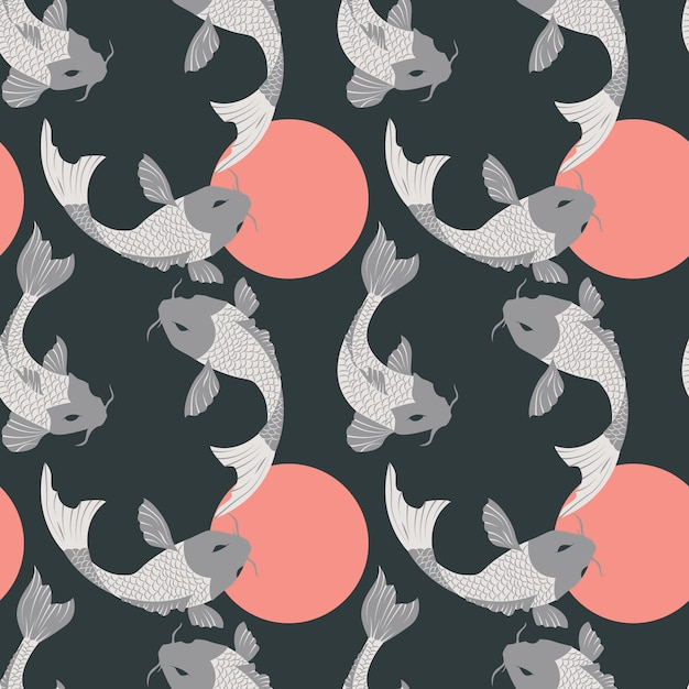 Koi pattern design vector free download for Fish pattern fabric