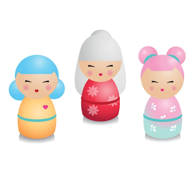 Kokeshi set. traditional japanese dolls in realistic style. Premium Vector