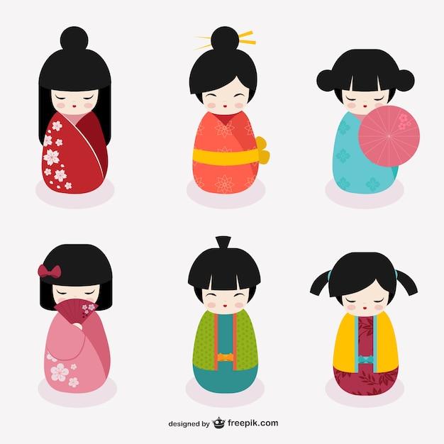 Японские kokeshi куклы Бесплатные векторы