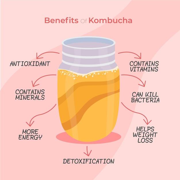 Illustrazione dei benefici del tè kombucha Vettore gratuito