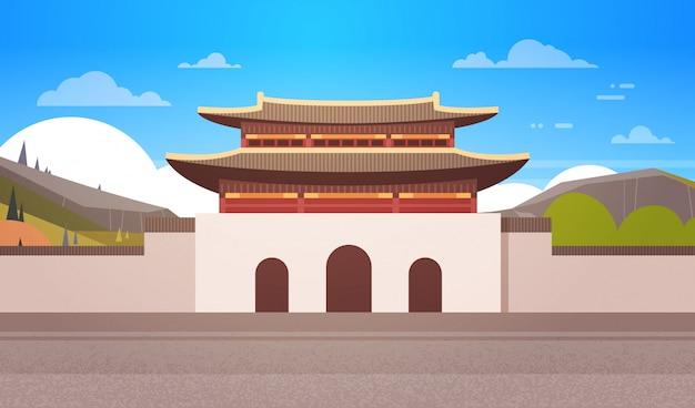 Korea temple landscape south korean palace over mountains famous asian landmark view Premium Vector