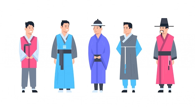 Korea traditional clothes set of men wearing ancient costume isolated asian dress concept Premium Vector
