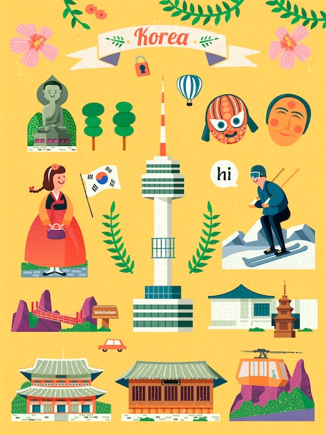 韓国旅行シンボルセット、黄色の背景に素敵な韓国の有名なランドマークと文化のシンボル Premiumベクター