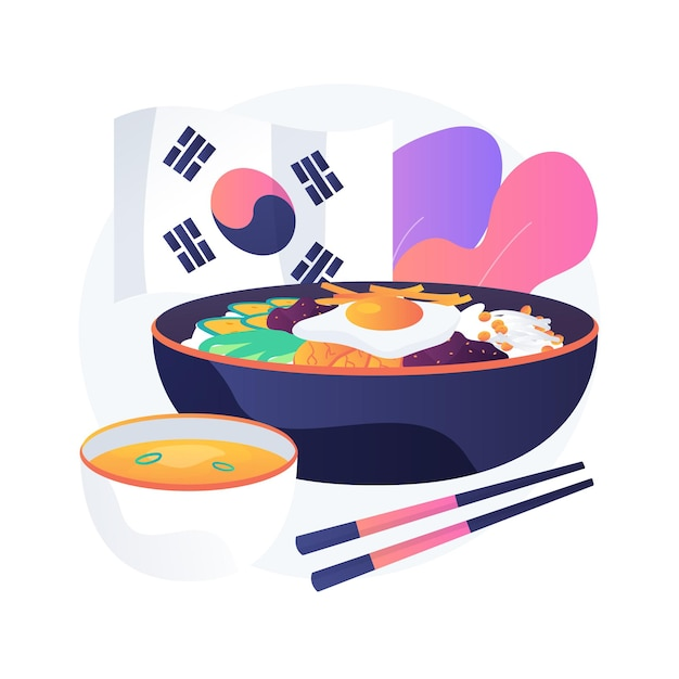 Korean cuisine abstract concept   illustration. oriental cuisine restaurant menu, korean food delivery, gourmet market, asian spice, meal takeout, traditional eating Free Vector