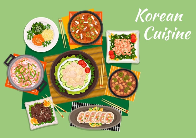 Korean cuisine beef bulgogi served with marinated vegetable salad and spicy kimchi soup, scallop salad, fried shrimps with spinach, seafood soup, stuffed squids and tofu soup with pork Premium Vector