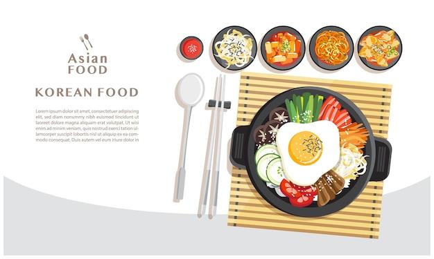 Korean cuisine bibimbap, rice mixing with various ingredients in black bowl top view illustration Premium Vector