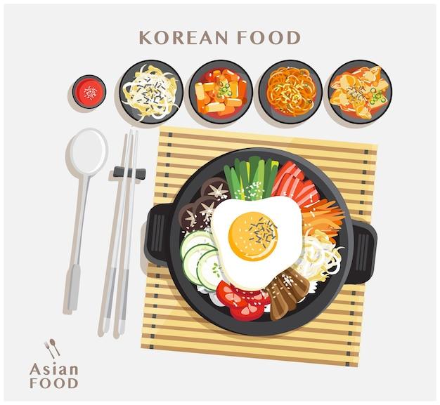 Korean cuisine bibimbap set, rice mixing with various ingredients in black bowl top view illustration Premium Vector