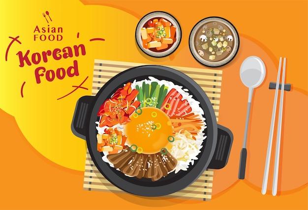 Korean cuisine bibimbap set, rice mixing with various ingredients in black bowl, top view   illustration Premium Vector