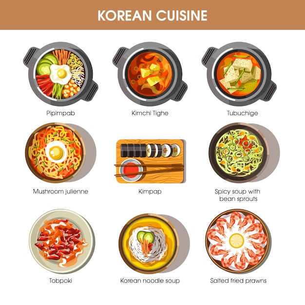 Korean cuisine flat vector collection of dishes on white Premium Vector